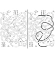 Dog maze vector image vector image