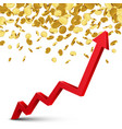 finance growth chart arrow with gold coins on a vector image vector image