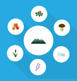 flat icon ecology set of berry champignon vector image vector image