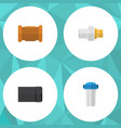 flat icon sanitary set of pipe industry water vector image vector image