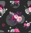 floral seamless pattern with bunches wild rose vector image vector image