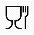 food safe material wine glass and fork symbol vector image vector image