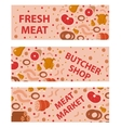 Fresh meat and sausages banner set flat style vector image vector image