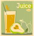 fresh pear juice on old paper vintage card vector image