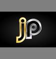 gold silver letter joint logo icon alphabet design vector image
