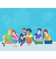 Group of creative people using smartphone laptop vector image vector image