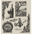 Hand drawn wine set vector image vector image
