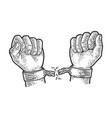 hands breaking shackles sketch vector image vector image