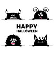 happy halloween monster scary face head icon set vector image vector image