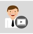 happy man icon play social network design vector image