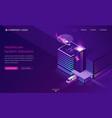 healthcare system solutions isometric landing page vector image vector image