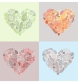 heart leaves seasons background vector image vector image