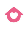 house symbol with heart shape logo icon vector image