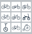 isolated bicycles icons set vector image vector image