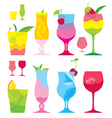 isolated set of colorful cocktails in glasses with vector image