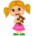 Little girl holding bear stuff vector image vector image