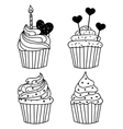 monochrome background Hand drawn cakes vector image vector image