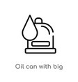 outline oil can with big drop icon isolated black vector image vector image