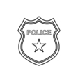 Police badge outline icon Linear vector image