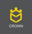 polygon crown logo vector image vector image