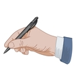 puts his signature pen vector image