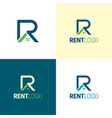 rent letter r real estate logo and icon vector image