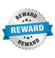 reward 3d silver badge with blue ribbon vector image vector image