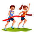 runners finish woman and man vector image