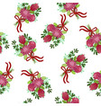 seamless pattern with bouquets protea vector image