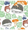 Seamless pattern with wild animals in the forest vector image