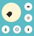 set of pirate icons flat style symbols with hand vector image