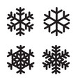 set of silhouettes snowflakes on white vector image