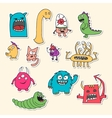Set of stickers with doodle monsters vector image vector image