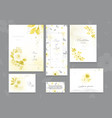 set ultimate gray and yellow card with flower vector image vector image