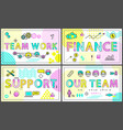 successful business posters with linear icons vector image vector image