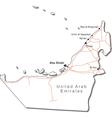 United Arab Emirates Black White Map vector image