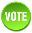 vote green round flat isolated push button vector image vector image