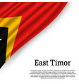 waving flag of east timor vector image vector image