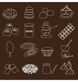 white and brown chocolate outline simple symbols vector image vector image