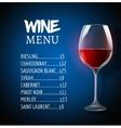 wine menu card design template list template vector image
