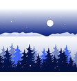 winter panoramic landscape with trees valley and vector image