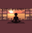 woman meditating in pose lotus sunrise or sunset vector image vector image