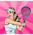 Woman Playing Tennis Sportswoman with Racket vector image