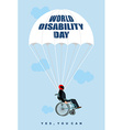 World Disabilities day Man in wheelchair goes down vector image