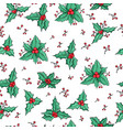 xmas holly berry seamless pattern vector image