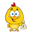 yellow chick cartoon character holding money bag vector image vector image