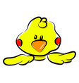 yellow small duck on white background vector image vector image