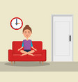 young woman practicing yoga in the sofa vector image