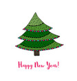 christmas tree sticker happy new year cartoon card vector image