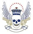 crown skull wing emblem with smoke guns vector image